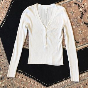 Leith white long sleeve knit blouse small